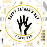 Happy fathers day wishes design vector. Background on seamless pattern. Fashion father line greeting. Father poster for print or web design. Modern holiday Stock Photography