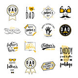 Happy fathers day wishes overlay. S, lettering labels design set. Retro father badges. Hand drawn emblem with tie, mustache, glasses, hand. . Fathers Day sign or Royalty Free Stock Photography