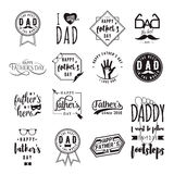 Happy fathers day wishes overlays, lettering labels design set. Retro father badges. Hand drawn emblem with tie, mustache, glasses, hand. . Fathers Day sign or Stock Images