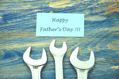Happy fathers day wishes and spanners Stock Images