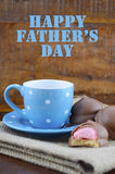 Happy Fathers Gift of Coffee and Marshmallow Cookies. Royalty Free Stock Images