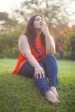 Happy fatty woman posing outdoor Royalty Free Stock Photos