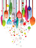 Happy Feast!. Beautiful vector illustration with multi-colored utensils for all kind of food related designs stock illustration