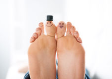 Happy feet family. Smiliing toes close-up, family and togetherness concept Royalty Free Stock Photos