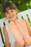 Happy feet (girl portrait) Royalty Free Stock Images