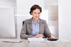 Happy female accountant Royalty Free Stock Image