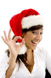 Happy female accountant wearing christmas hat gest Stock Photos