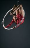 Happy female acrobat performs with hanging hoop Royalty Free Stock Photo