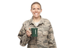 Happy female airman with coffee cup Royalty Free Stock Photo