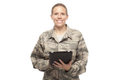Happy female airman with digital tablet Royalty Free Stock Photography