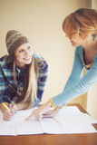 Happy female architects working Royalty Free Stock Photo