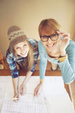 Happy female architects working Stock Photography