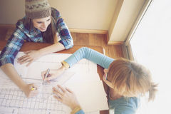 Happy female architects working Stock Photo