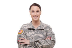 Happy female army soldier Royalty Free Stock Images