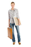 Happy Female Artist With Canvas And Wooden Case Royalty Free Stock Photos