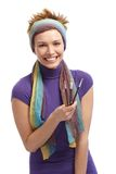 Happy female artist with paintbrush Stock Photography