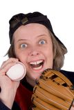 Happy female baseball fan stock photo