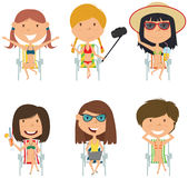 Happy female characters sitting on deck chair vector  Stock Images