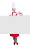 Happy Female Chef Holding Placard Royalty Free Stock Images