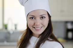 Happy female chef at work Stock Photography