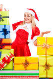 Happy female Christmas Santa with gifts Royalty Free Stock Photos
