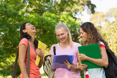 Happy female college friends at campus Royalty Free Stock Photography