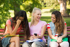 Happy female college friends sitting on campus bench Royalty Free Stock Image