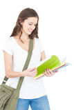 Happy female college student studying Royalty Free Stock Images