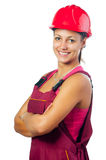 Happy female construction worker Stock Photo