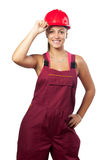 Happy female construction worker Stock Photography