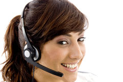 Happy female customer care executive Stock Photography