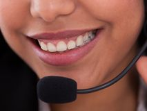 Happy Female Customer Representative Stock Photos