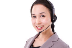 Happy female customer service executive face closeup with headse. T, isolated Royalty Free Stock Image