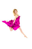 Happy female dancer in pink jumping royalty free stock photos