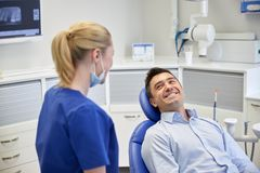 Happy female dentist with man patient at clinic Stock Photography