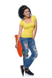 Happy female in distressed jeans with skateboard Royalty Free Stock Photos