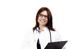 Happy female doctor with a clipboard Royalty Free Stock Image