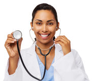 Happy Female Doctor Holding Stethoscope Stock Photography