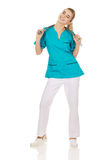Happy female doctor or nurse with stethoscope Royalty Free Stock Photography