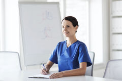 Happy female doctor or nurse writing to clipboard Stock Photography