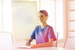 Happy female doctor or nurse writing to clipboard Stock Image
