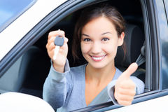 Happy female driver Royalty Free Stock Photo
