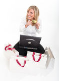 Happy female e-commerce customer Stock Photography