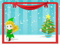 Happy female elf. Christmas background with happy female elf Stock Photography