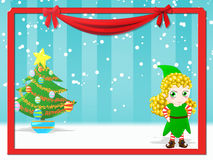 Happy female elf. Christmas background with happy female elf Royalty Free Stock Photo