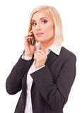 Happy female executive speaking on a cellphone Stock Images