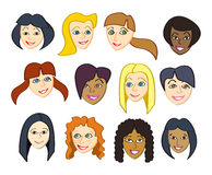 Happy Female Faces Stock Photography