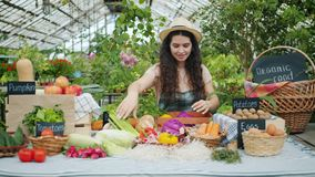 Happy female farmer in apron putting organic food on table in market smiling. Getting ready for autumn sale. People, business and healthy nutrition concept stock video
