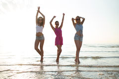 Happy female friends dancing on beach. Friendship, summer vacation, party, happiness and people concept - group of happy female friends dancing on beach stock image