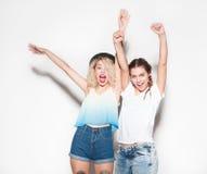 Happy female friends having fun stock photo